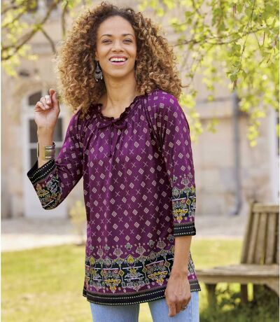 Women's Aztec-Print Tunic Top with Three-Quarter Length Sleeves