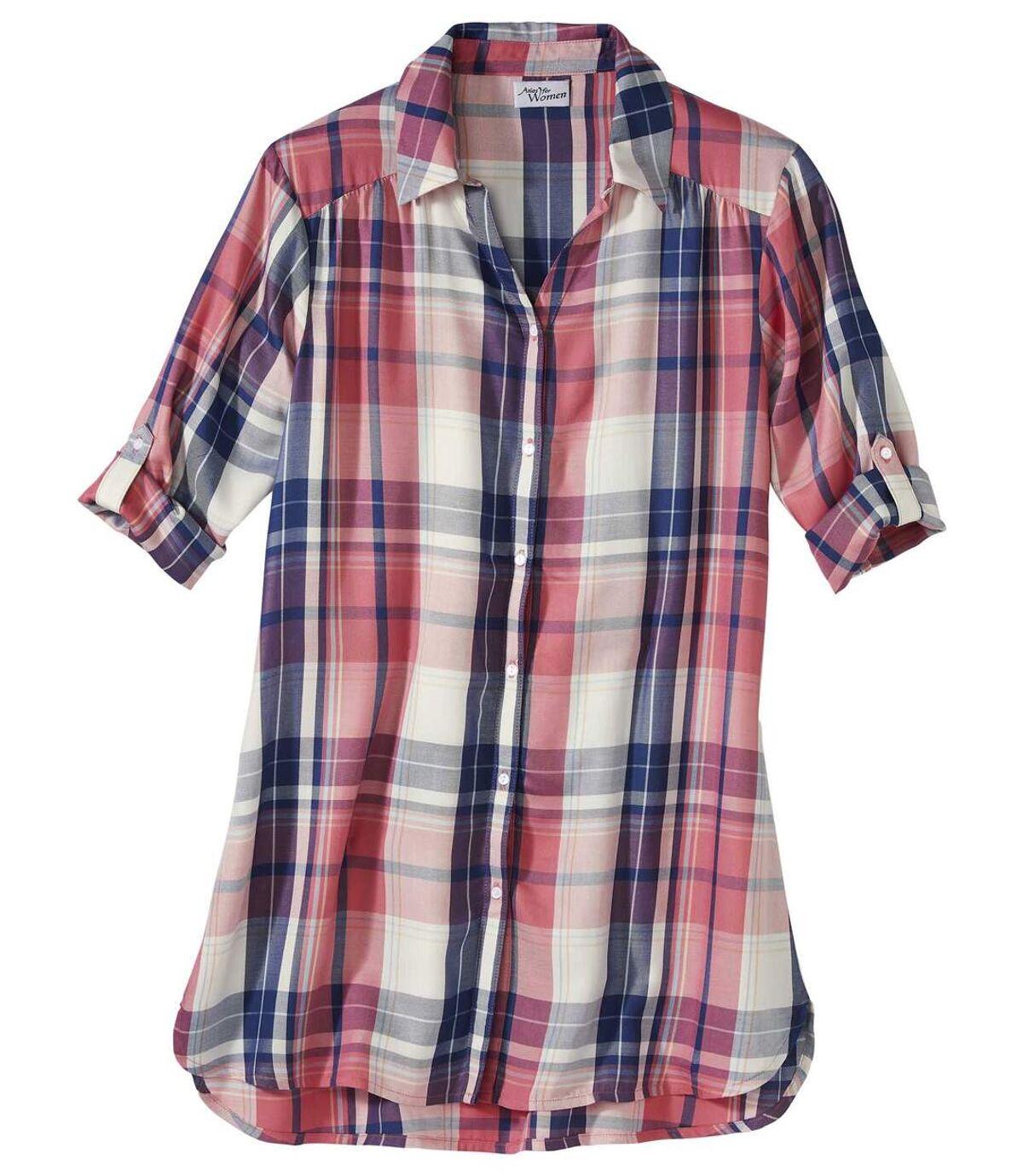 Women's Longline Checked Shirt - Blue White Pink Atlas For Men