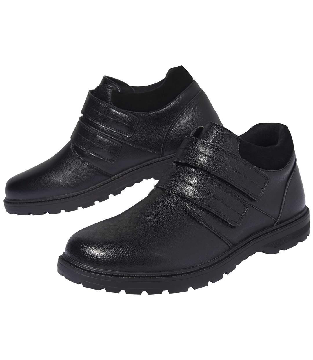 Skórzane buty z rzepem i kożuszkiem sherpa Atlas For Men
