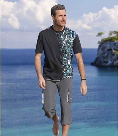 Men's Gray Cropped Pants - Microfiber