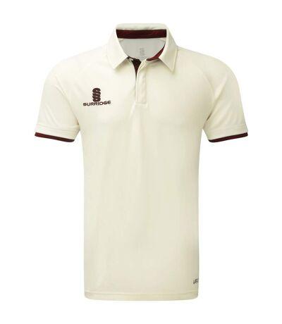 Surridge Mens Ergo Short Sleeve Shirt (White/Maroon Trim) - UTRW6275
