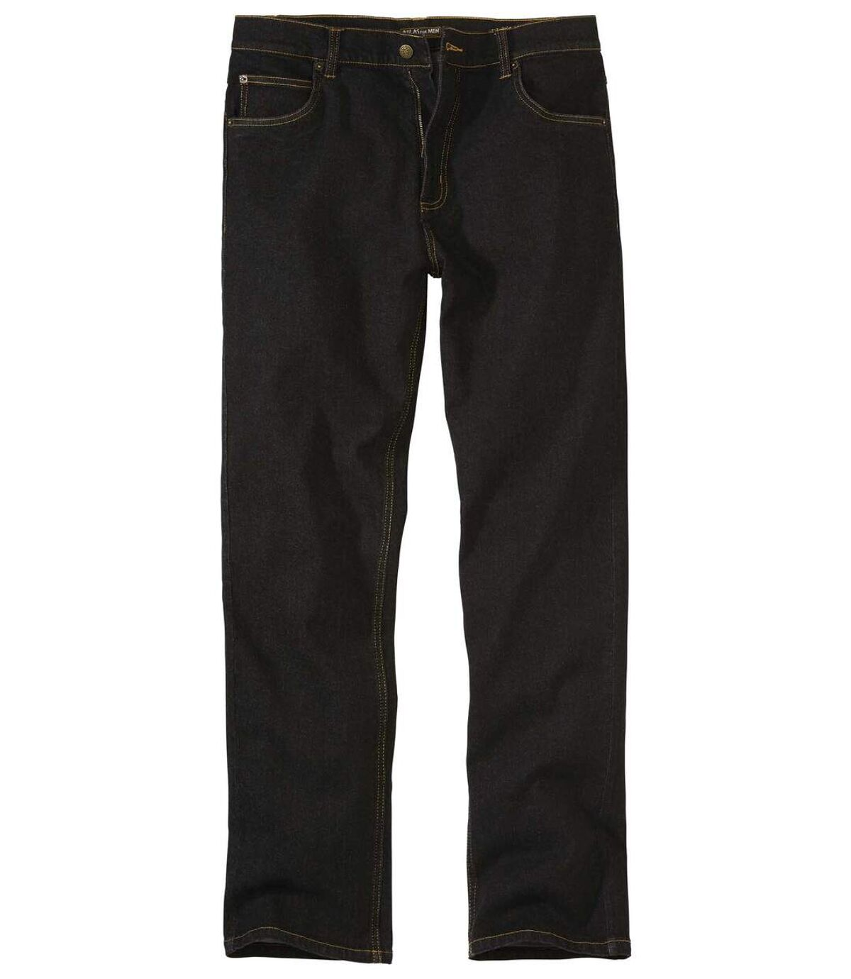 Wygodne czarne jeansy Regular ze stretchem Atlas For Men