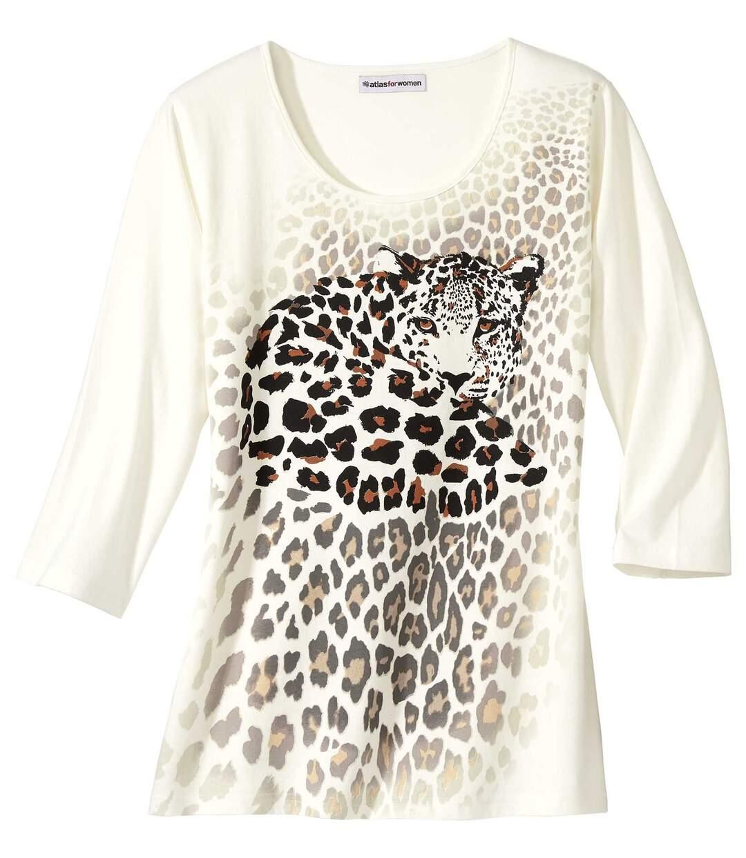 Nyomtatott leopárd mintás póló