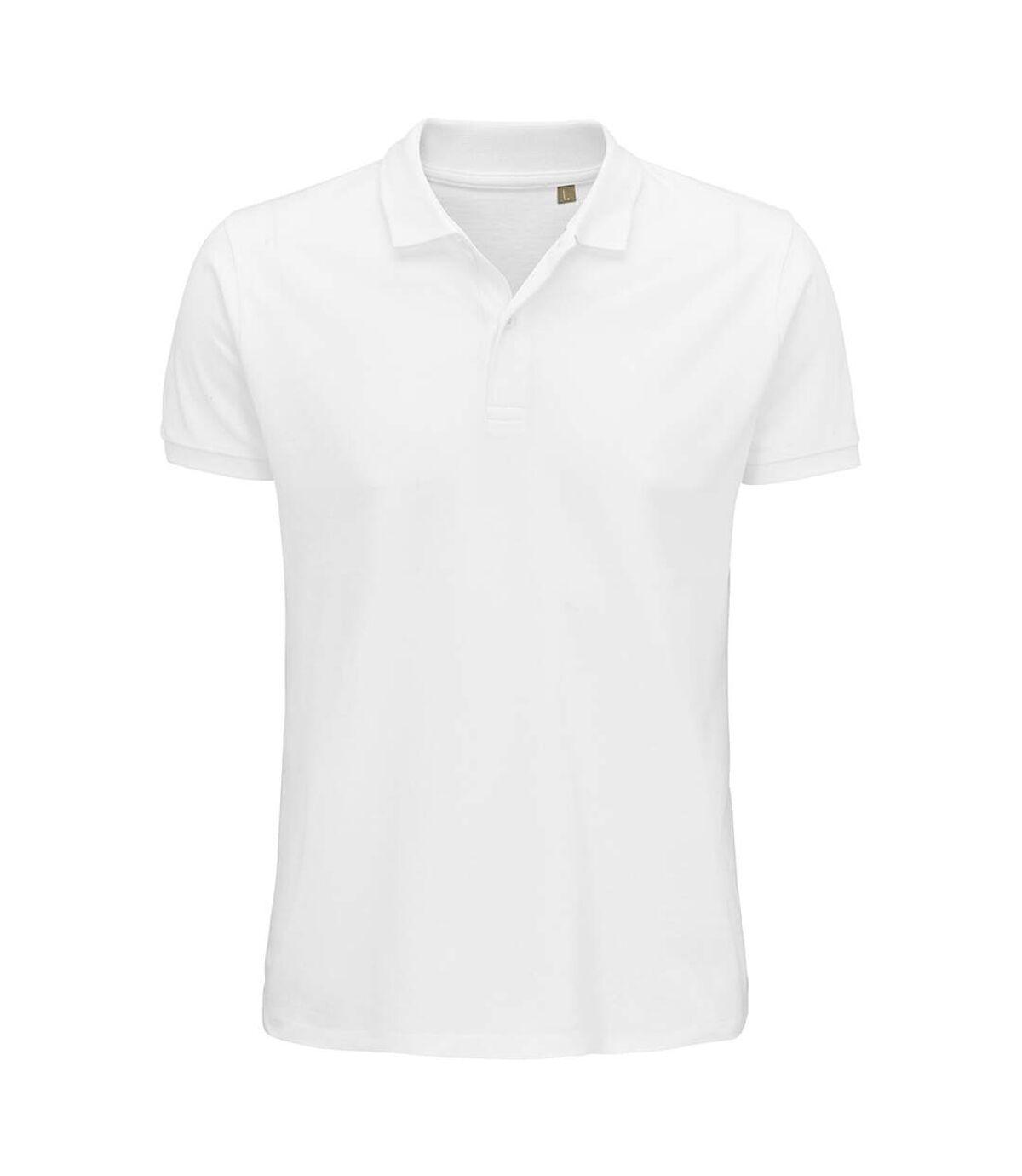 SOLS Mens Planet Pique Organic Polo Shirt (White) - UTPC4362