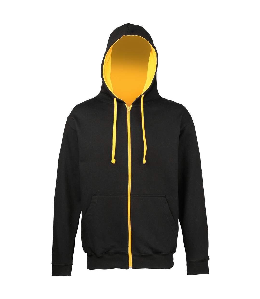 Sweat zippé à capuche unisexe - JH053 - noir et jaune