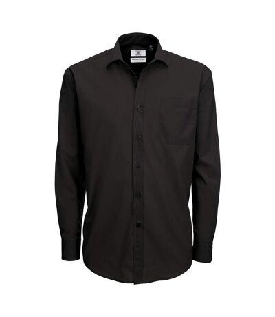 B&C Mens Smart Long Sleeve Poplin Shirt / Mens Shirts (Black) - UTBC111