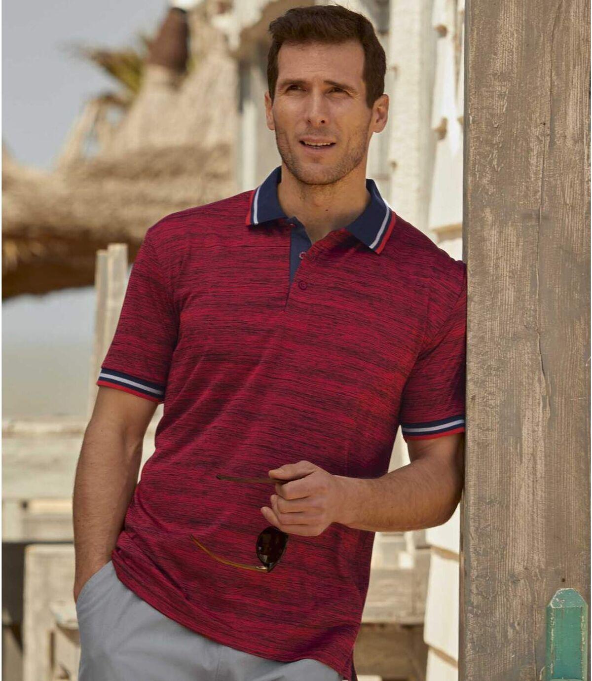 Sada 2 polo triček z žíhaného žerzeje Atlas For Men