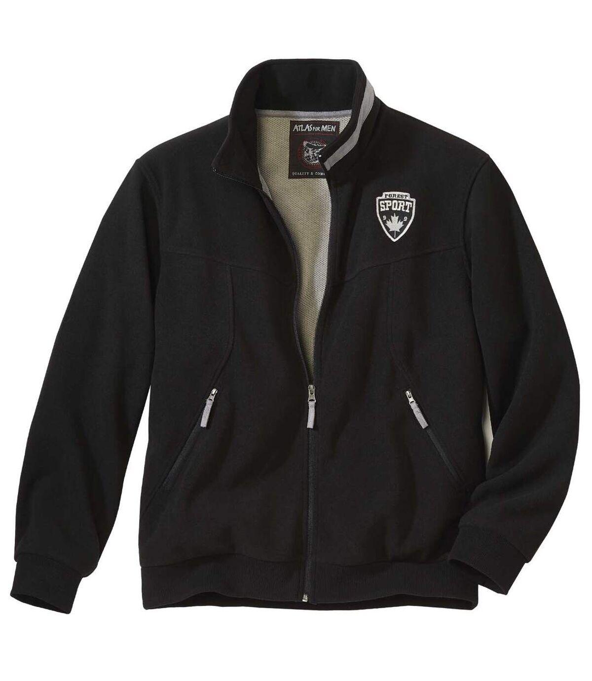 Men's Black Full Zip Fleece Jacket Atlas For Men