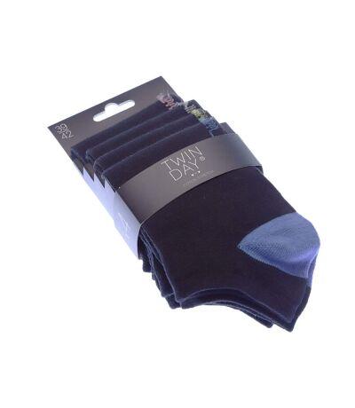 Chaussette Invisibles - Lot de 4 - Sans bouclette - Pointe colorée - Coton - Noir