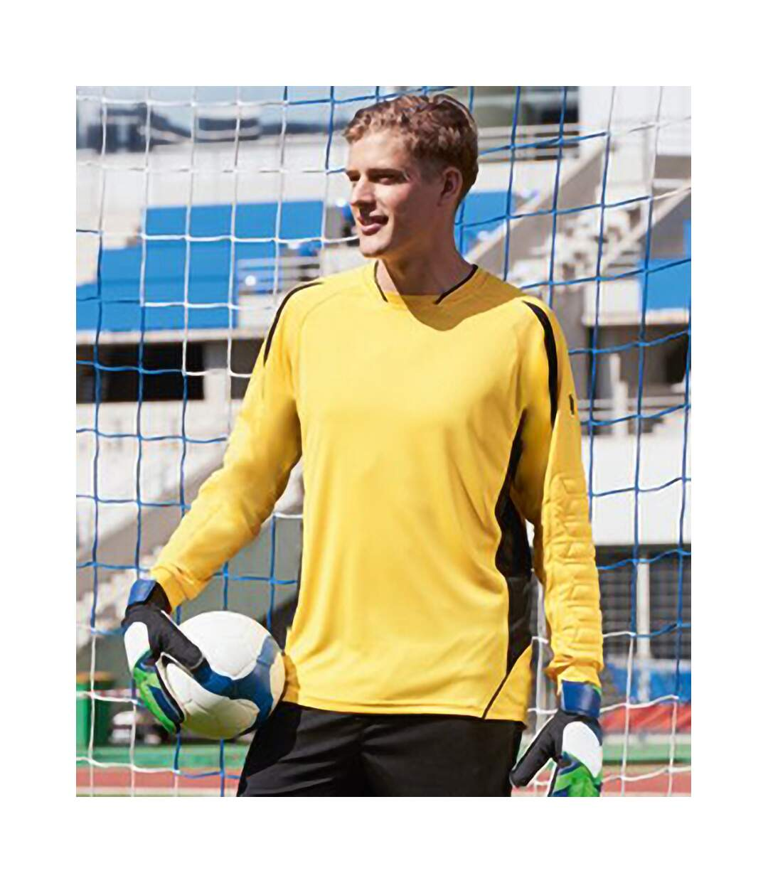SOLS Mens Azteca Long Sleeve Goalkeeper / Football Shirt (Lemon/Black) - UTPC467