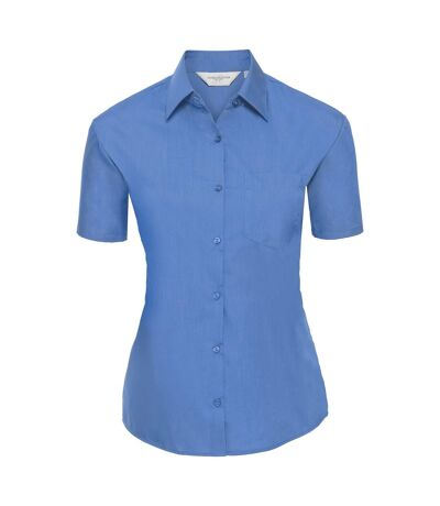 Russell Collection Ladies/Womens Short Sleeve Poly-Cotton Easy Care Poplin Shirt (Corporate Blue) - UTBC1028