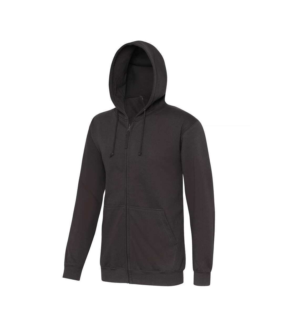 Awdis Plain Mens Hooded Full Zip Hoodie / Zoodie (Deep Black) - UTRW180