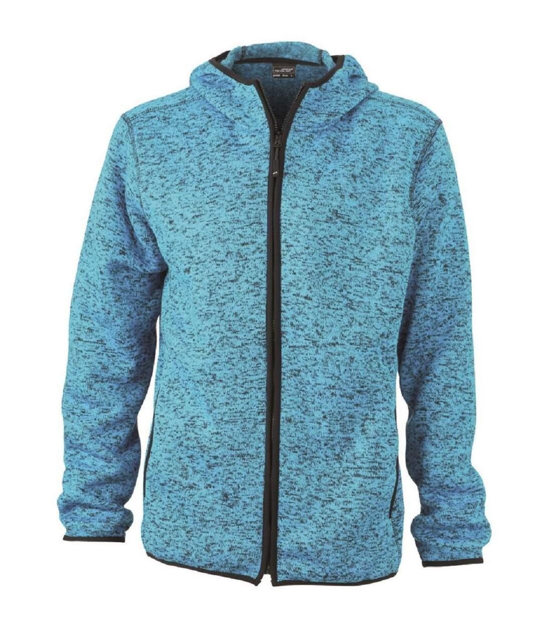 Veste tricot polaire à capuche HOMME- JN589 - bleu clair chiné