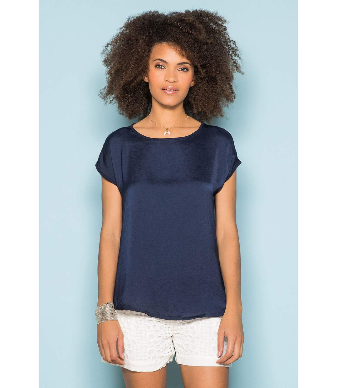 T-shirt manches courtes bi-matière LEONI Off White