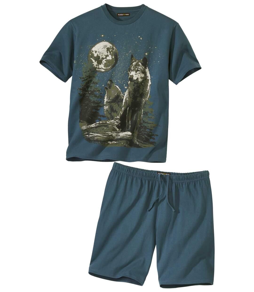 Piżama z szortami Wilki