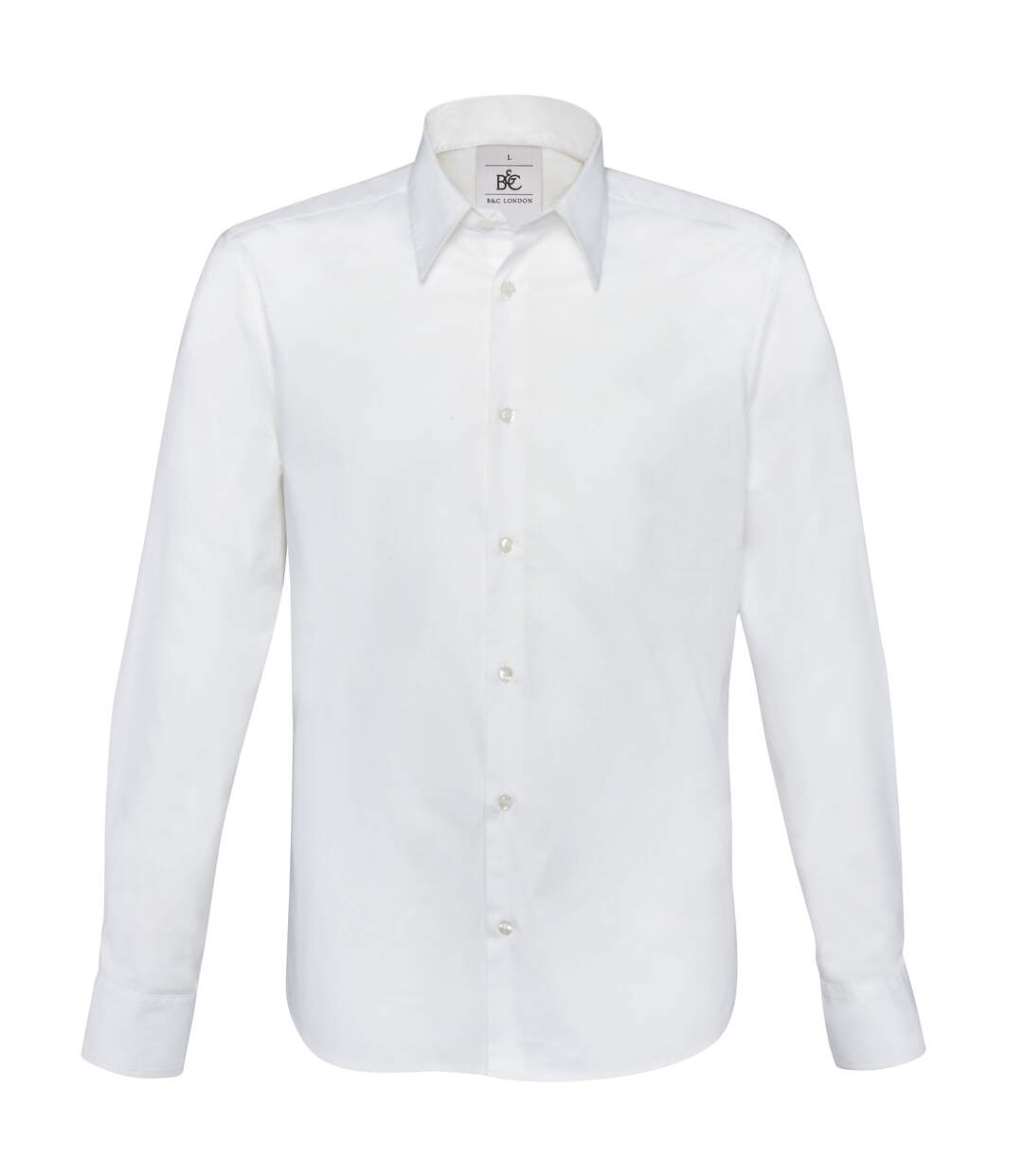 B&C Mens London Long Sleeve Poplin Shirt (White) - UTRW3040