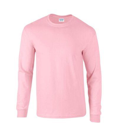 Gildan Mens Plain Crew Neck Ultra Cotton Long Sleeve T-Shirt (Light Pink) - UTBC477