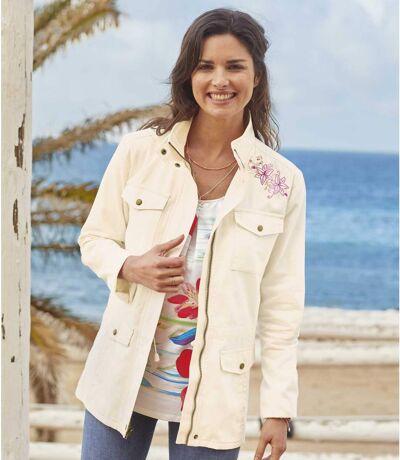 Women's Embroidered Summer Safari Jacket - Ecru