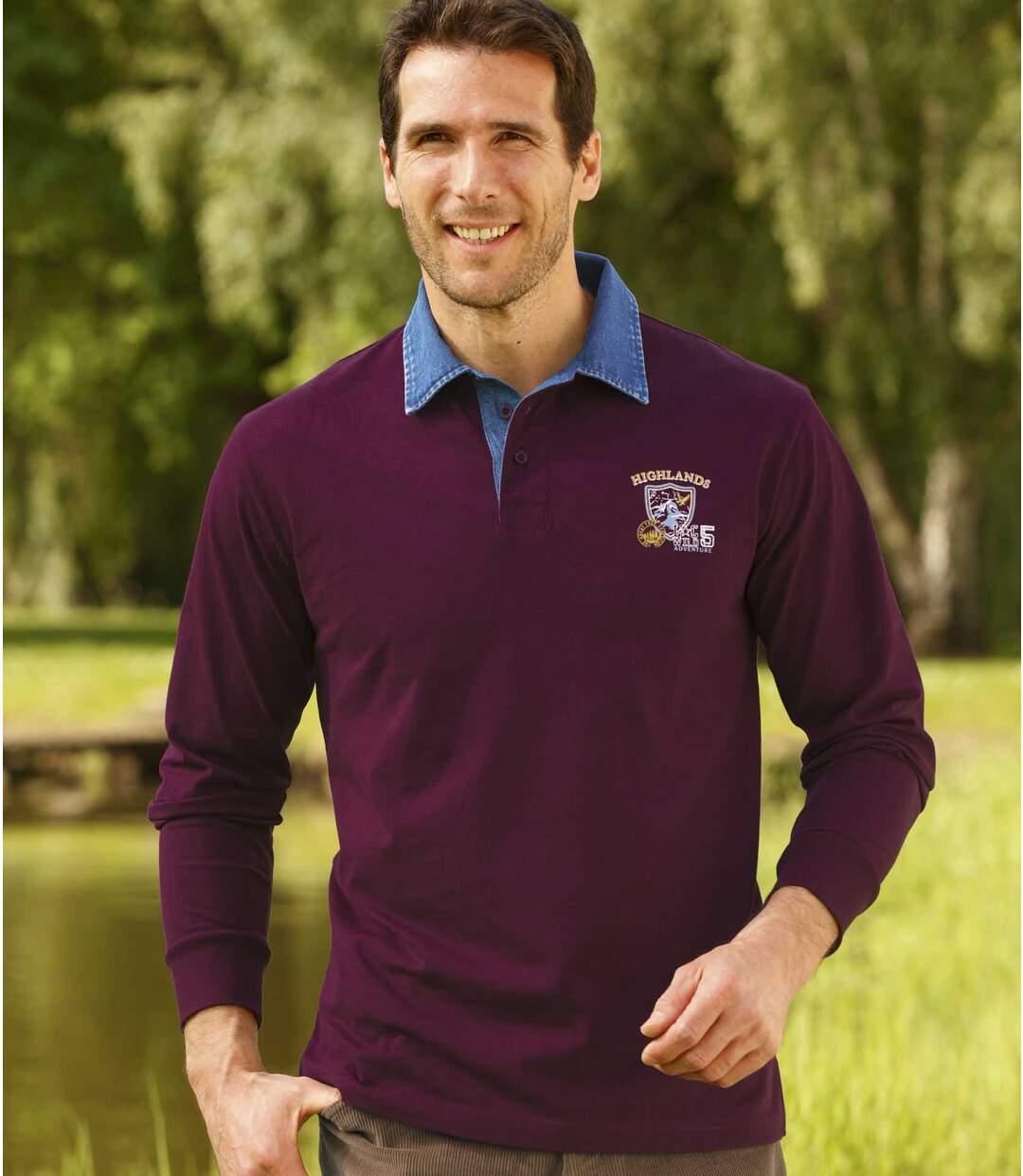 Men's Burgundy Polo Shirt with Denim Collar
