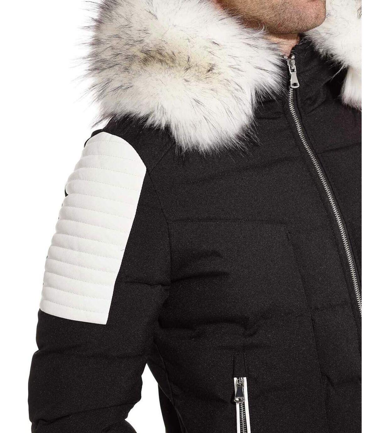 Blouson Parka capuche fourrure et empiècement aspect cuir blanc