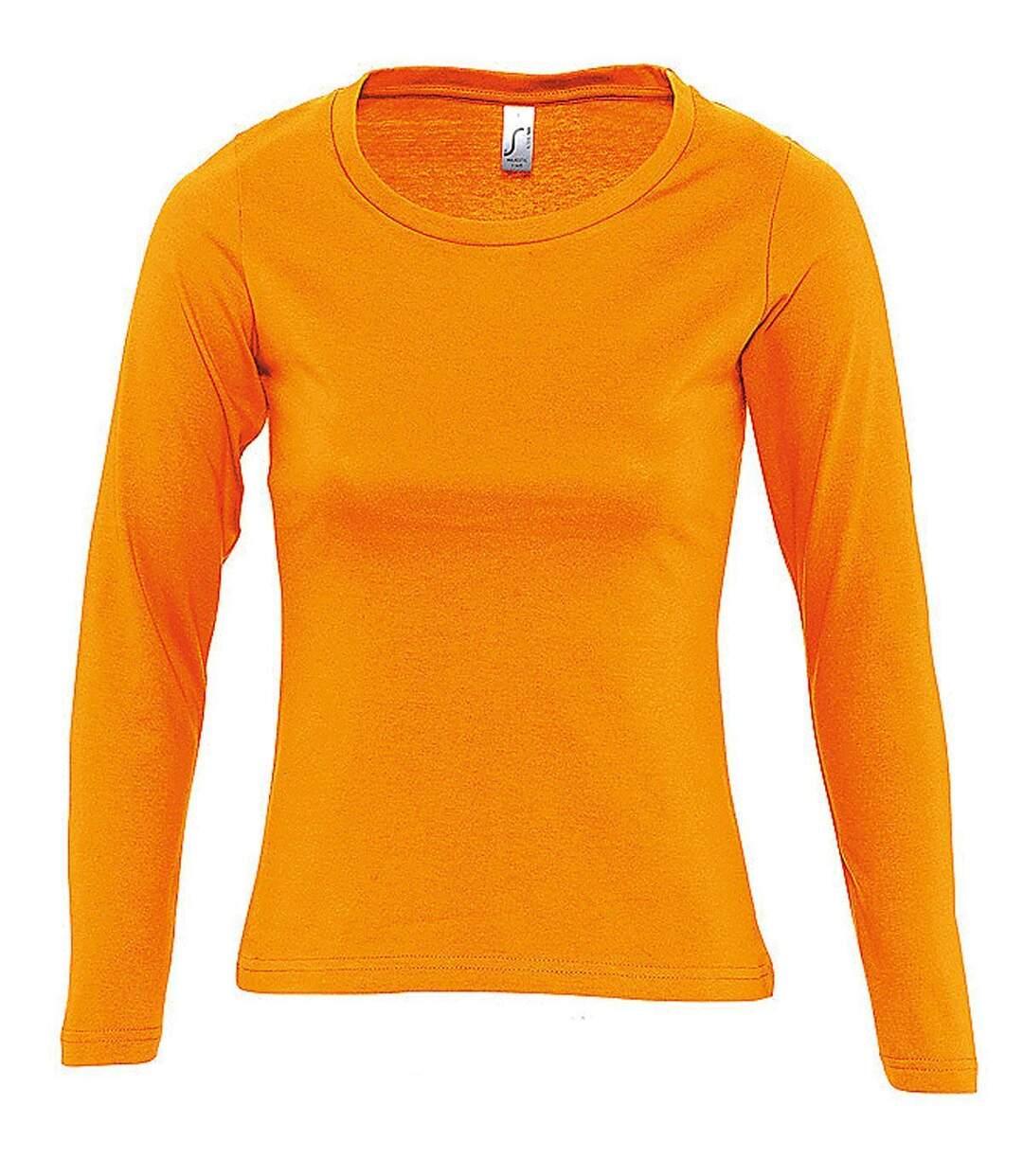 Dégagement T-shirt manches longues FEMME 11425 orange dsf.d455nksdKLFHG