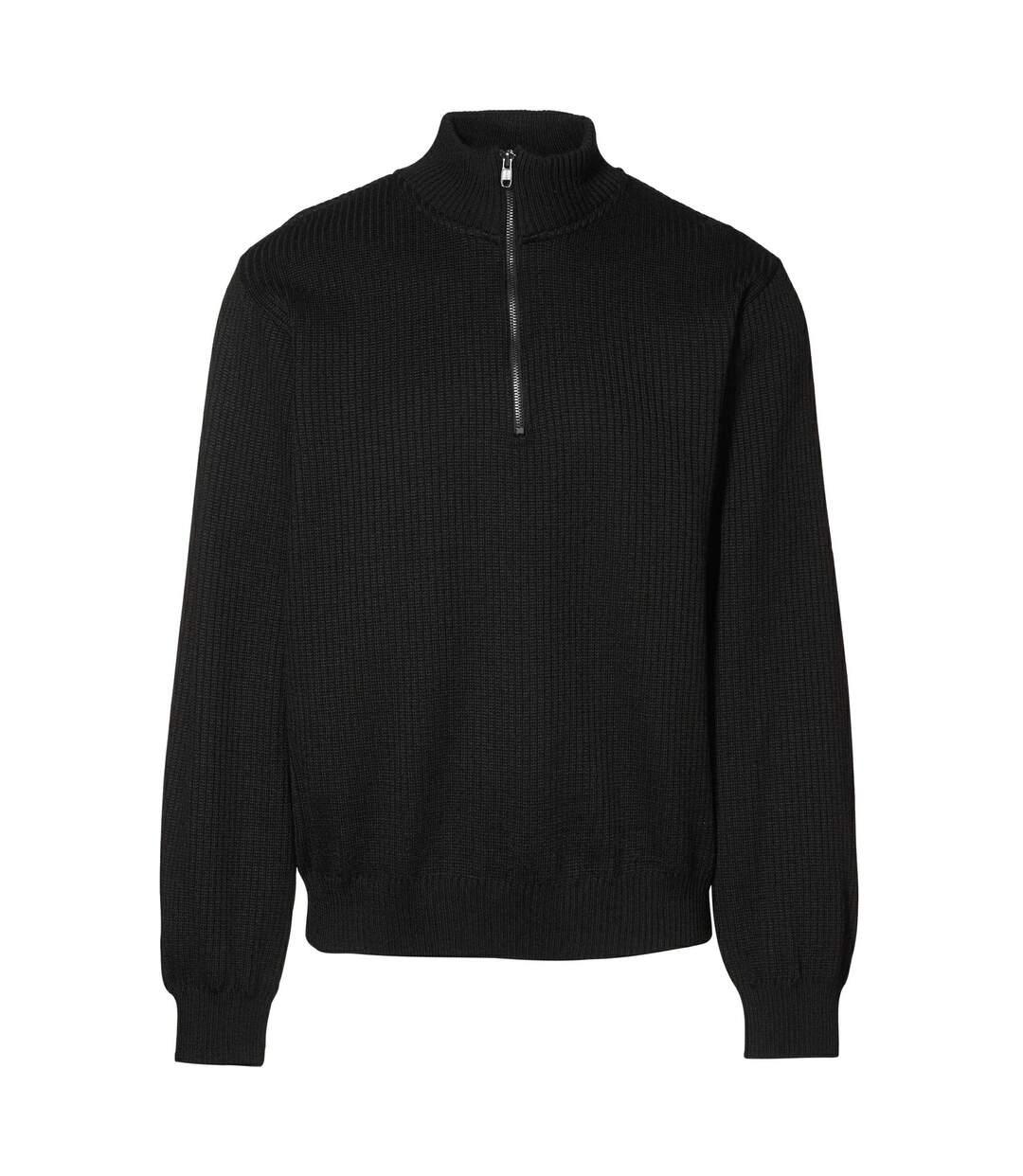 ID Mens Knitted Half Zip Pullover Fleece (Black) - UTID398