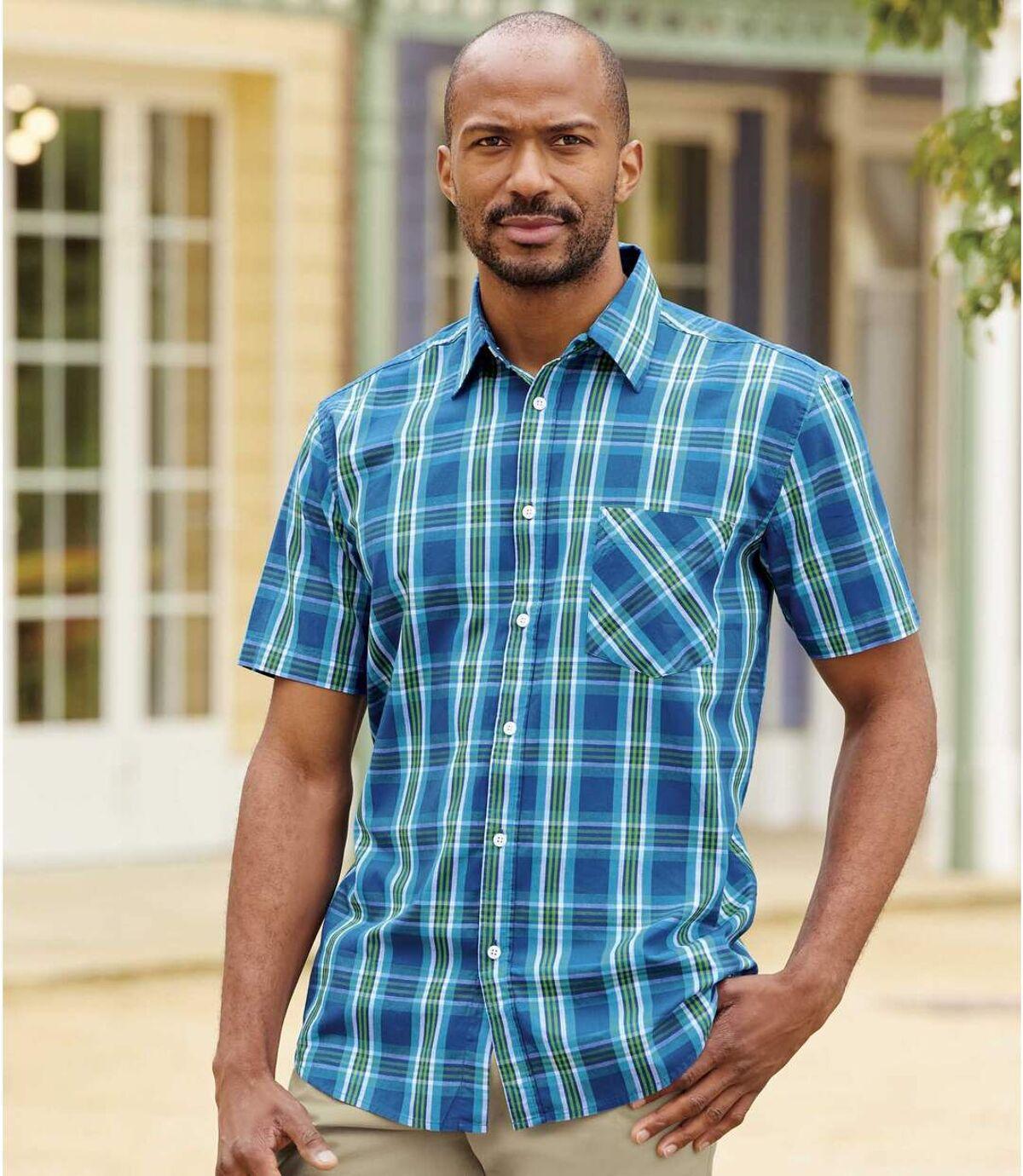 Men's Blue Checked Shirt Atlas For Men