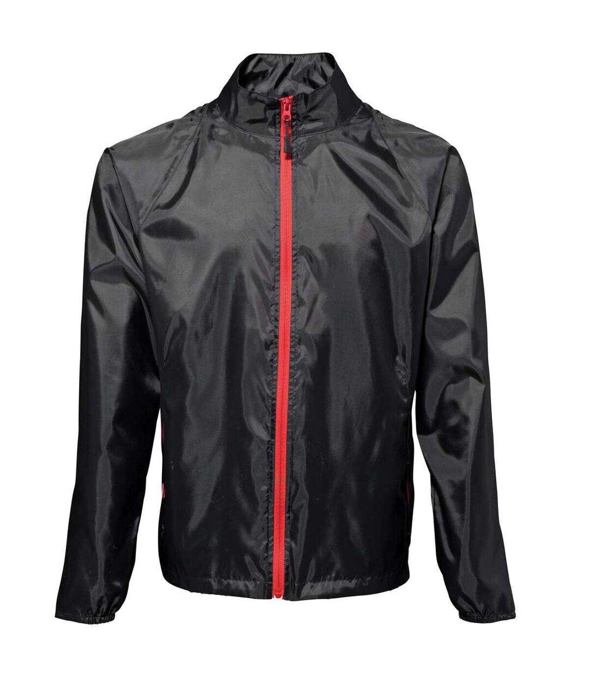 2786 Mens Contrast Lightweight Windcheater Shower Proof Jacket (Pack of 2) (Black/ Red) - UTRW7001