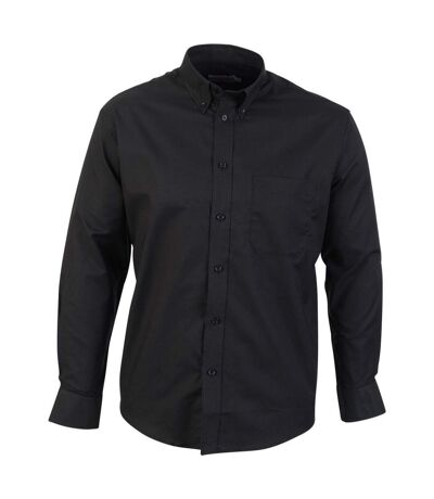 Absolute Apparel Mens Long Sleeved Oxford Shirt (Black) - UTAB119