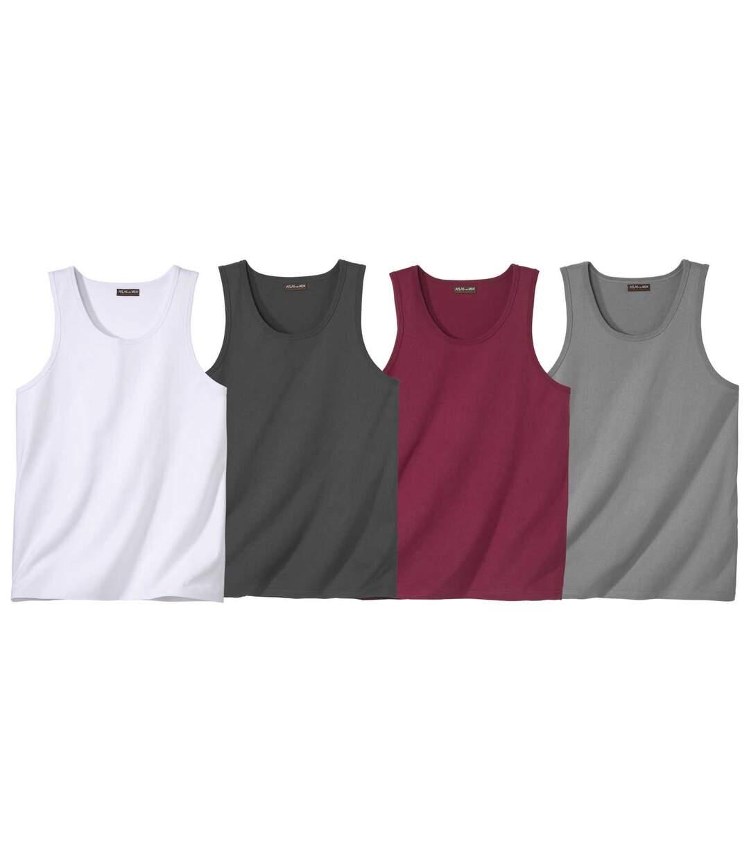 Pack of 4 Men's Montana Road Vest Tops - Burgundy White Grey