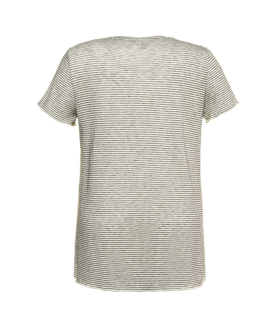 T-shirt V, rayures, pierres scintillantes