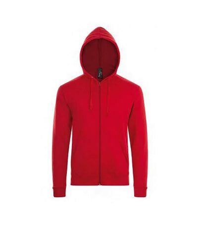 SOLS Mens Stone Zip Up Plain Hoodie (Red) - UTPC2784