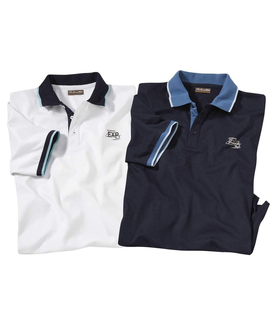 Pack of 2 Men's Jersey Polo Shirts - White Navy Blue