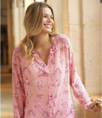 Women's Pink Floral Mousseline Blouse