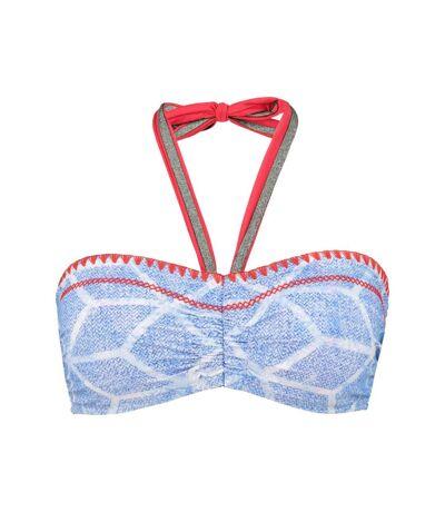 ULLA POPKEN bikini top graphique à col roulé multicolore NEW
