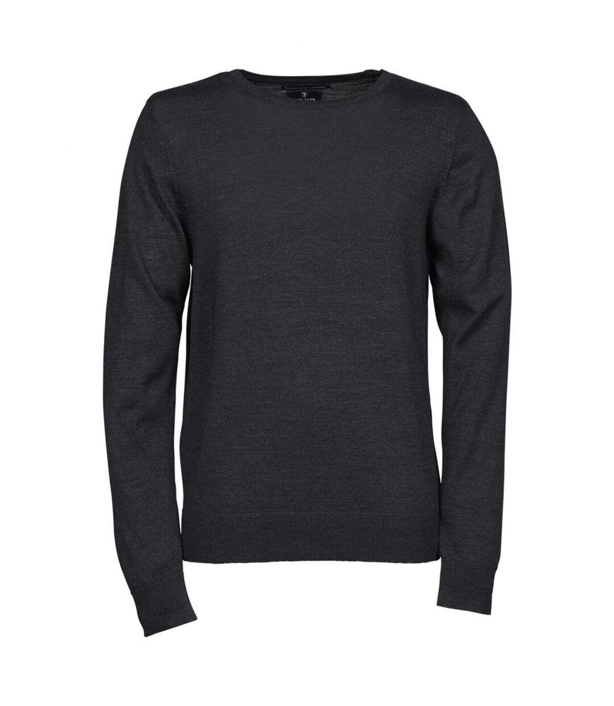 Pull classique laine col rond - HOMME - 6000 - gris foncé