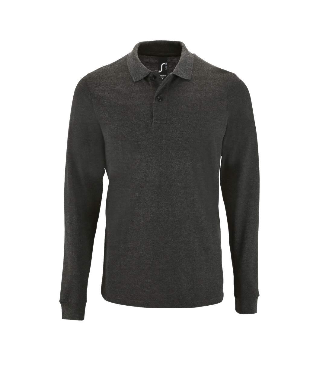 SOLS Mens Perfect Long Sleeve Pique Polo Shirt (Charcoal Marl) - UTPC2912