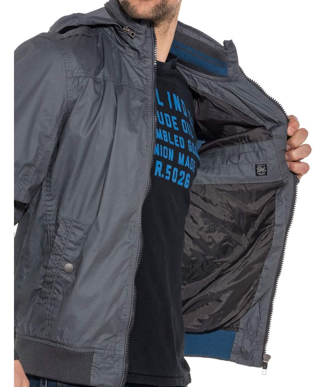 Blouson homme gris zippé à capuche