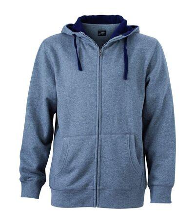Sweat zippé à capuche homme - JN963 - gris chiné