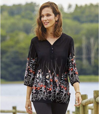 Women's Black Floral Crepe Top