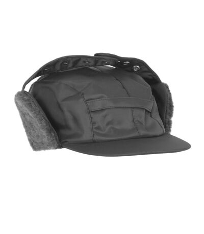 Mens Water Proof Thermal Trapper Hat With Ear Flaps (Black) - UTHA368