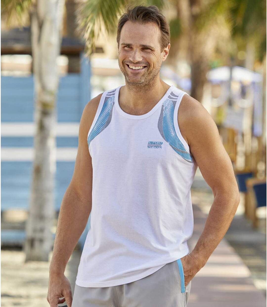 Pack of 3 Men's Sporty Graphic Vests - Black White Turquoise