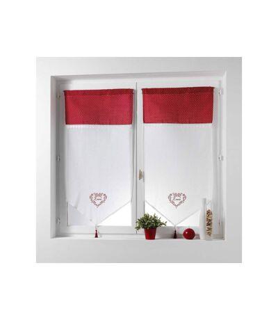 Paris Prix - Paire De Voilages Brodés home Love 60x160cm Rouge