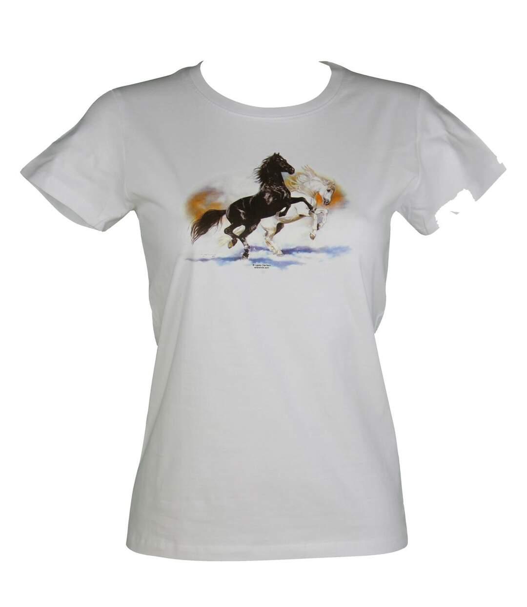 T-shirt femme manches courtes - chevaux 1236 - blanc