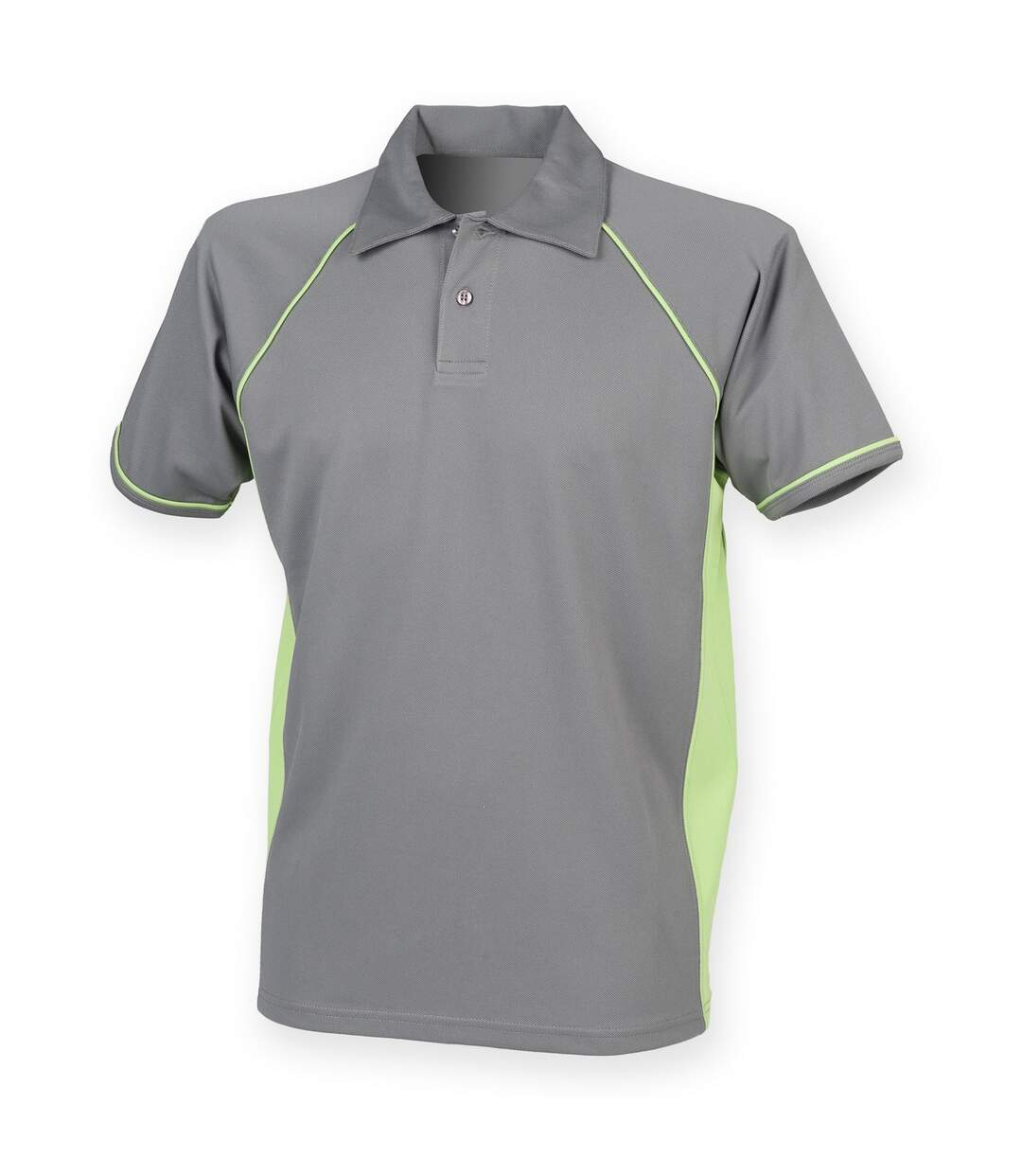 Finden & Hales - Polo Sport À Manches Courtes - Homme (Gris/Vert citron) - UTRW427