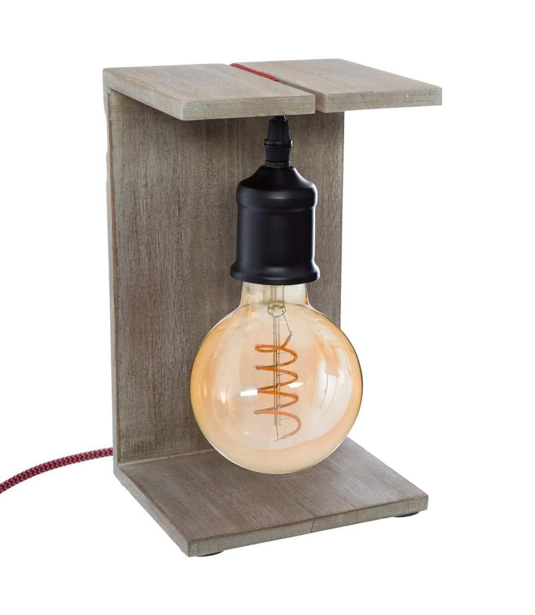 Atmosphera - Lampe à poser Caja en Bois H 25 cm