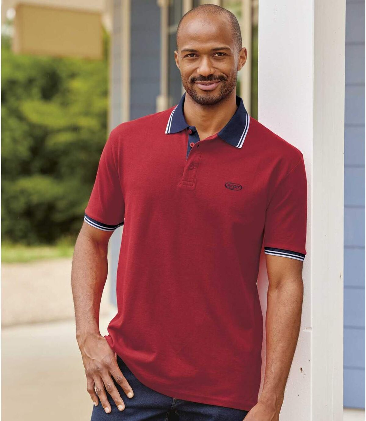 Pack of 2 Men's Piqué Fabric Polo Shirts - Navy, Red Atlas For Men