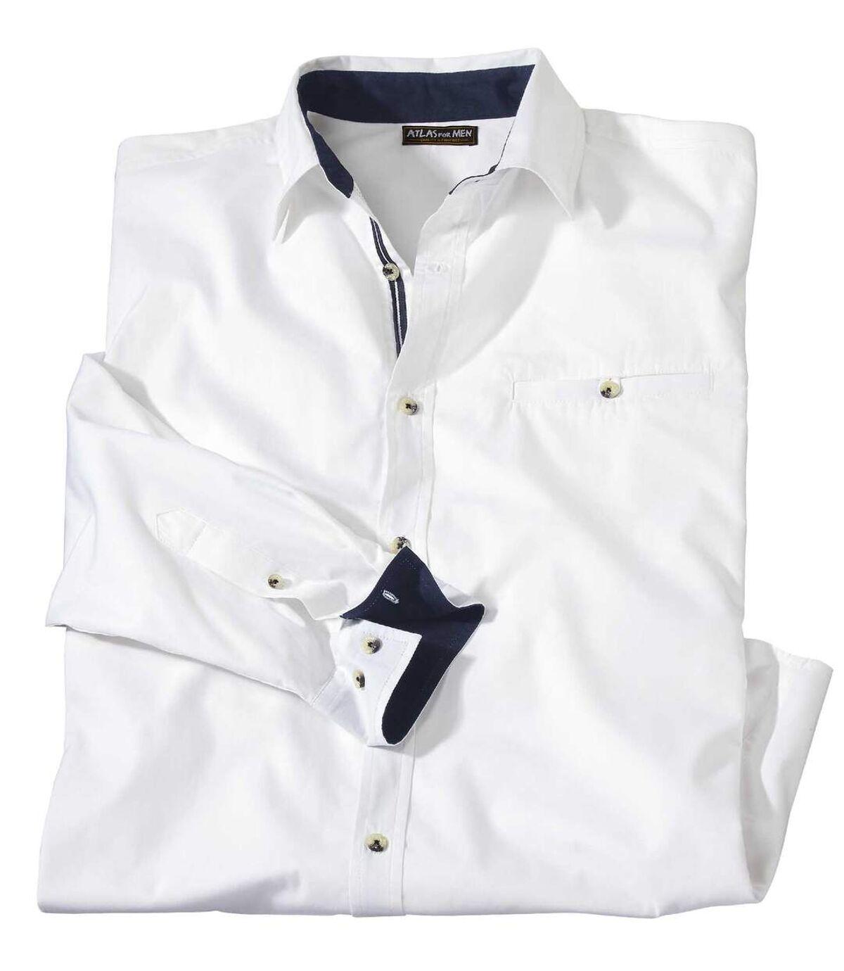 Ležérna biela popelínová košeľa Atlas For Men