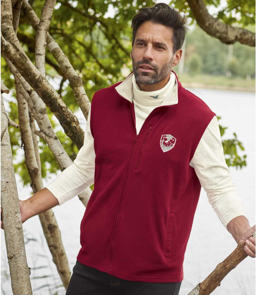 Pack of 2 Men's Microfleece Vests - Full Zip - Beige Burgundy Atlas For Men