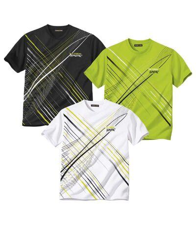 Pack of 3 Men's Sporty T-Shirts - Green Black White